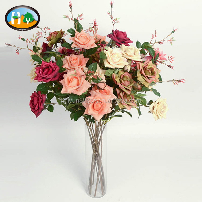 Factory direct sale edge curl rose artificial flower for home decoration
