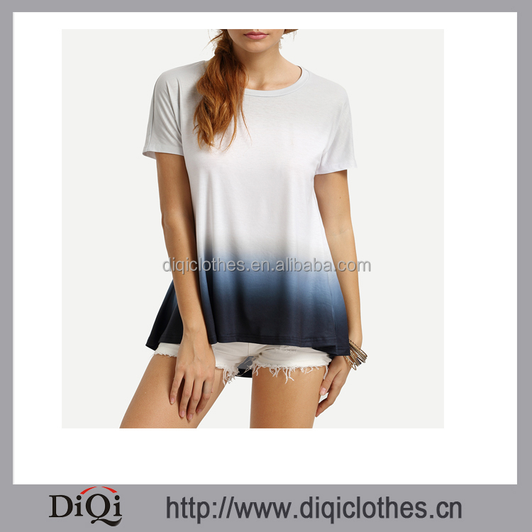 New arrivals women White Ombre High Low T-shirt