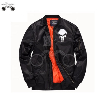 Black skull motorcycle men winter warm soft jacket