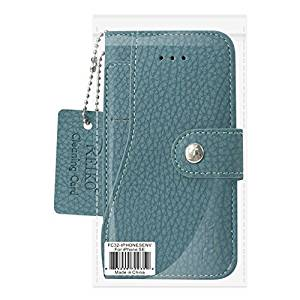 Reiko Credit Card Wallet Case With Slide Out Pocket & Fold Stand for iPhone 5/5S/SE - Navy