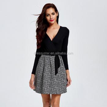 Wholesale Elegant Short A Line Long Sleeves Black Casual Dress For