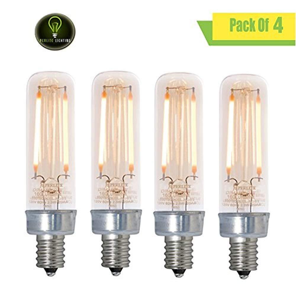 Perlite Lighting (Pack of 4) LED2T6/22K/FIL-NOS/2/120V 2.5-Watt T6 LED Filament Nostalgic Fully Compatible Dimming 2200k Candelabra E12 Base 120-Volt Light Bulb