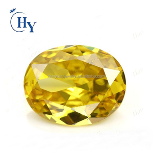Wholesale golden yellow oval cut cubic zirconia precious stone