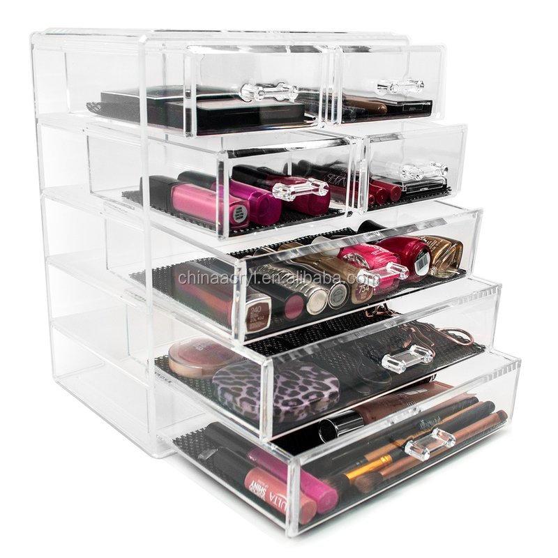 Custom Cosmetic Makeup Box Acrylic 7 Drawer Clear Makeup Organizer