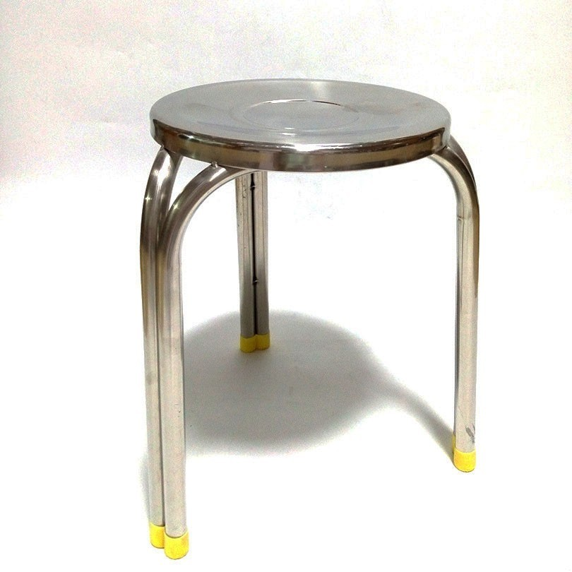 Factoty wholesale Heavy-duty folding 4 legs Round Shape Stainless Steel bar stool