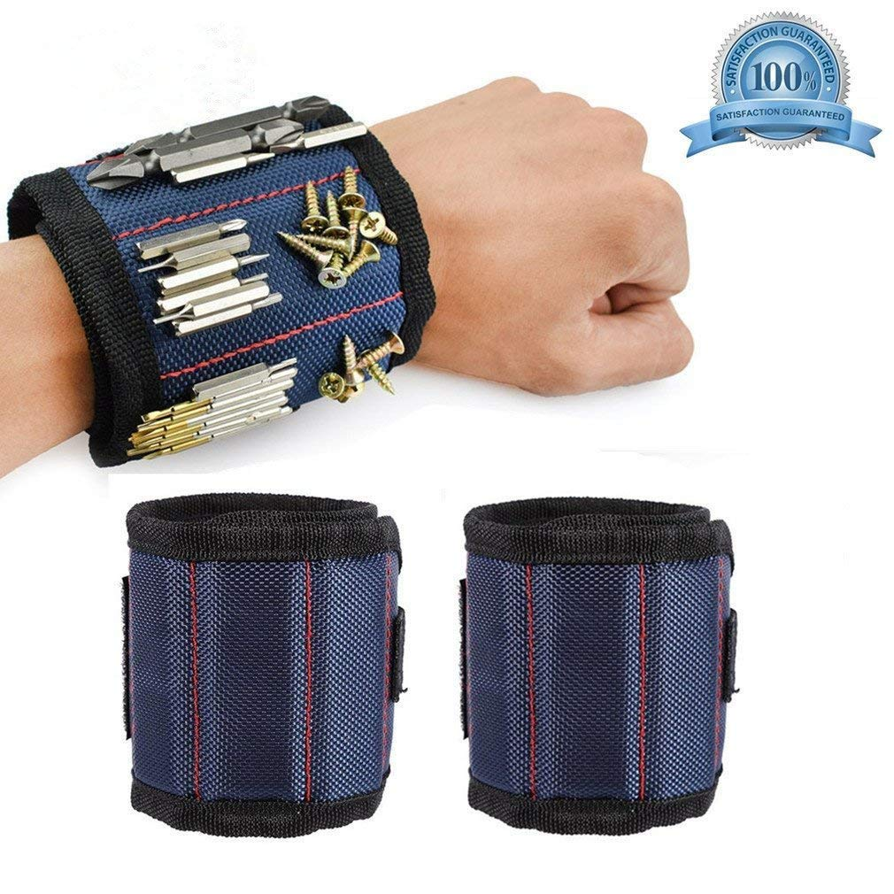 Magnetic Wristband for Men & Women, Screwdriver Bit Holder Carpentry Tools Belt Wrist Band Bracelet Strap Breathable with 3 Strong Magnets for Drill Bits Screws Nails Bolts Nuts. (1 pc, Blue)