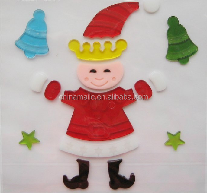 Christmas jelly gel sticker window stickers glass decor decal jelly gel sticker