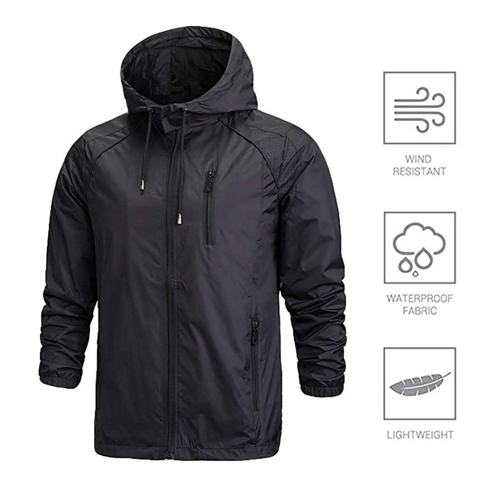 995072d0d22 Get Quotations · Oeak Men s Water Resistant Jacket UV Protection Windbreaker