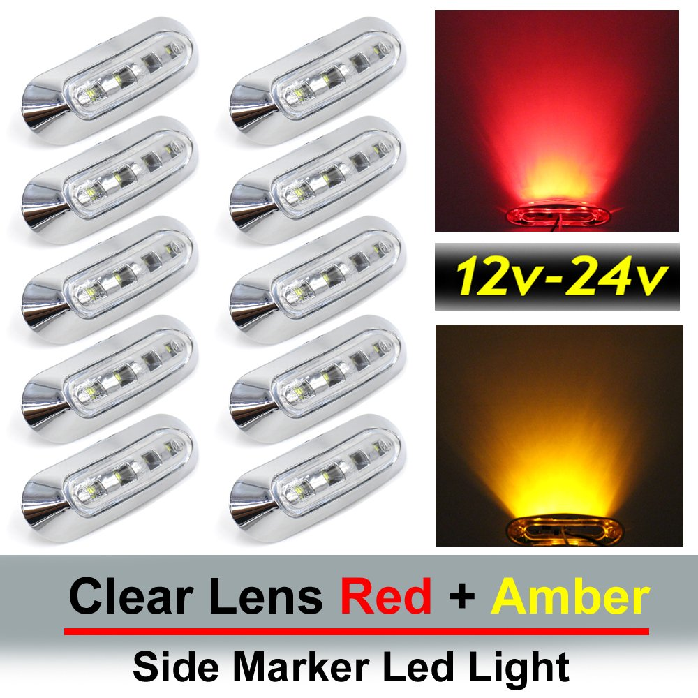 "10 pcs TMH 3.6"" submersible 4 LED Clear Lens Red & Amber Side Led Marker ( 5 + 5 ) 10-30v DC , Truck Trailer marker lights, Marker light amber, Rear side marker light, Boat Cab RV"