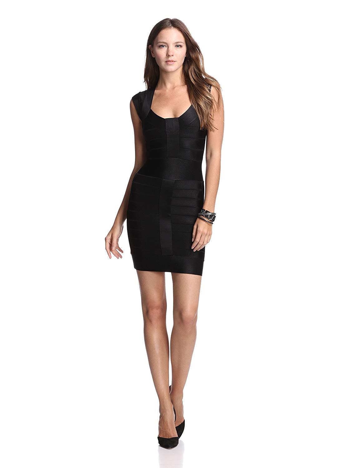 e6ca30c5815 Get Quotations · French Connection Black Spotlight Bandage Sleeveless  Stretch Knit Dress $188 LBD