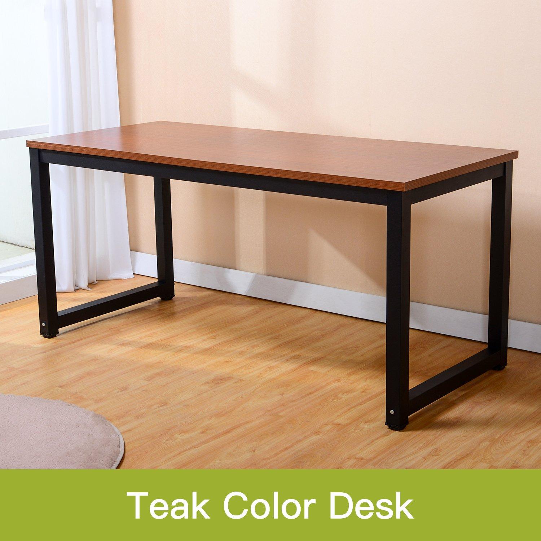 Modern Simple Style Computer Desk PC Laptop Study Table Office Desk Workstation for Home Office, Teak, (Black Leg L55.1 X W23.6 X H29.1 Inch)