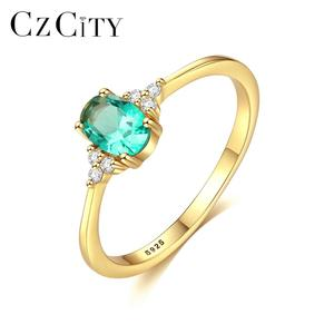 CZCITY Latest 18K Gold Women Jewelry Cheap 925 Sterling Silver Large Oval Shape Green Gemstone Rings