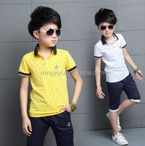 2018 Boys Clothes Summer Kids Polo T-Shirt Shorts 2pcs School Summer Clothing Set Polka Dot Tee Children