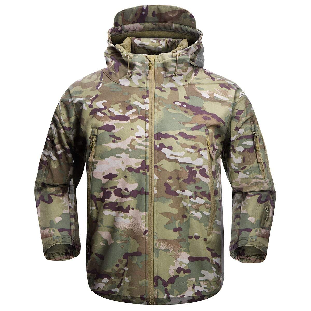 FREE SOLDIER Men's Outdoor Waterproof Soft Shell Hooded Military Tactical Jacket(Multicam Medium)