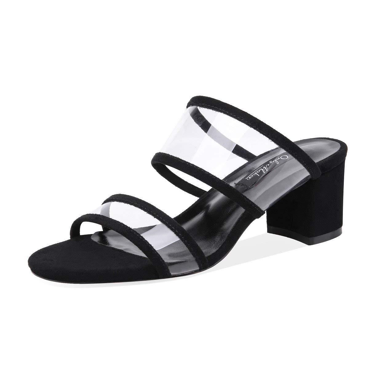 c5a38d1ab Get Quotations · onlymaker Womens PVC Clear Double Straps Block Heel Slide  Sandals Open Toe Slip on Mule Dress