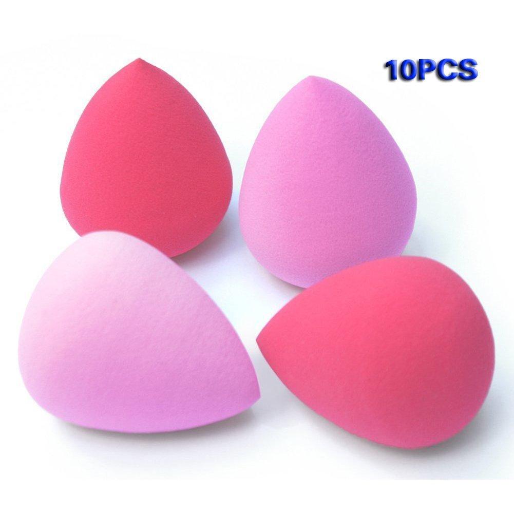 TOOGOO(R) 10Pcs Pro Beauty Makeup Sponge Blender Flawless Smooth Shaped Water Droplets Puff (Random Color)