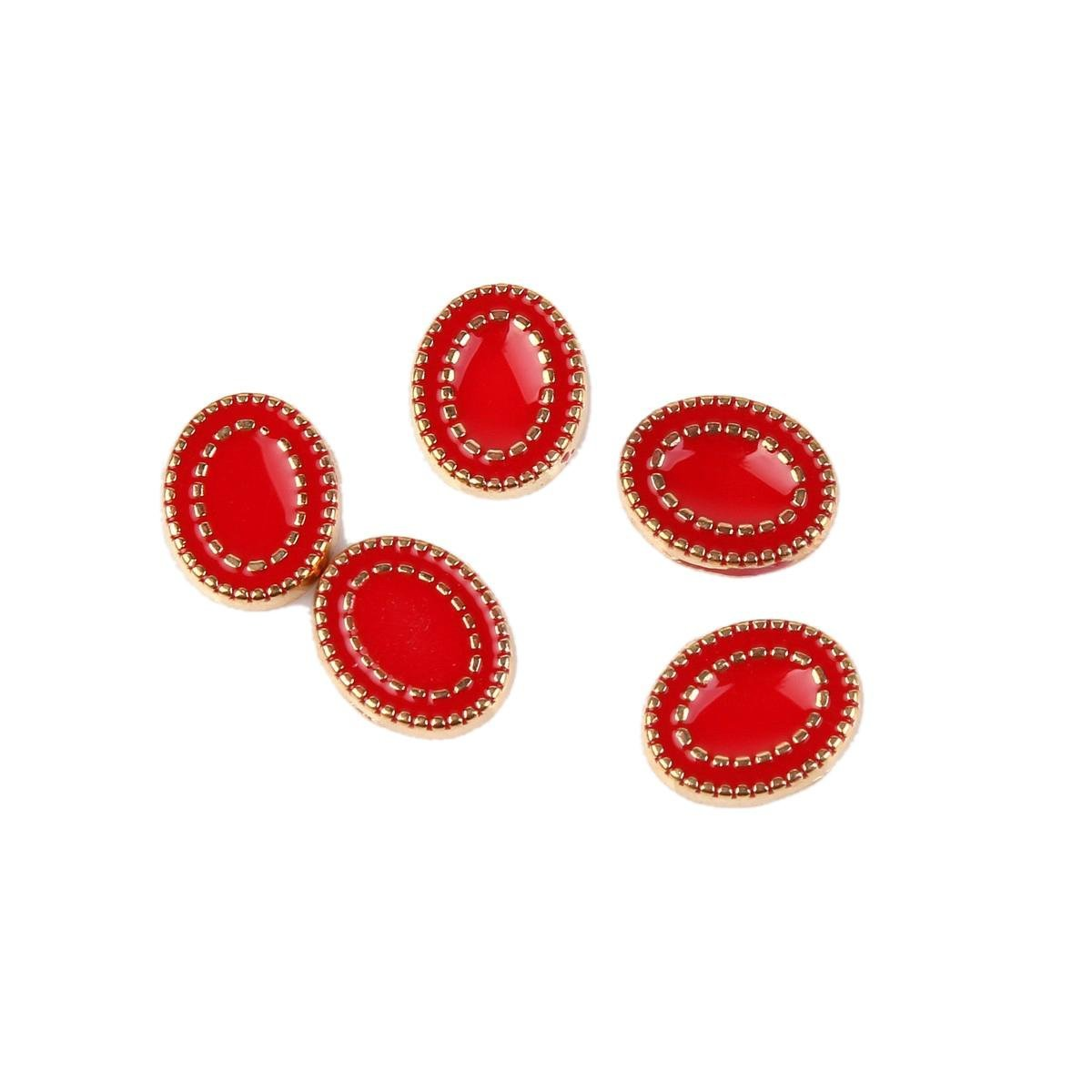 Buy Rain Queen Retro Oval Nails Designed Red 3d Nail Art Studs Gold