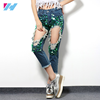 hot latest design pants women sequins calf punk hole slim damaged jeans Ripped casual Jeans