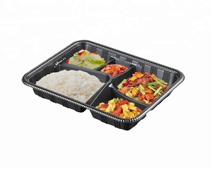 Easy Green PP Plastic 5 Compartment Microwavable Disposable Take Away Lunch Food Container Tray
