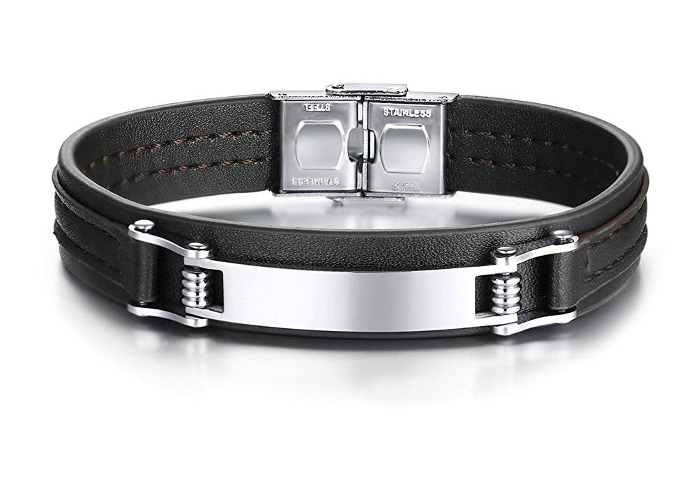 """Mealguet Jewelry Personalized Custom Engraved Leather Bracelets,Customized men's Stainless Steel ID Bracelet,Gift for Him,8.4"""""""