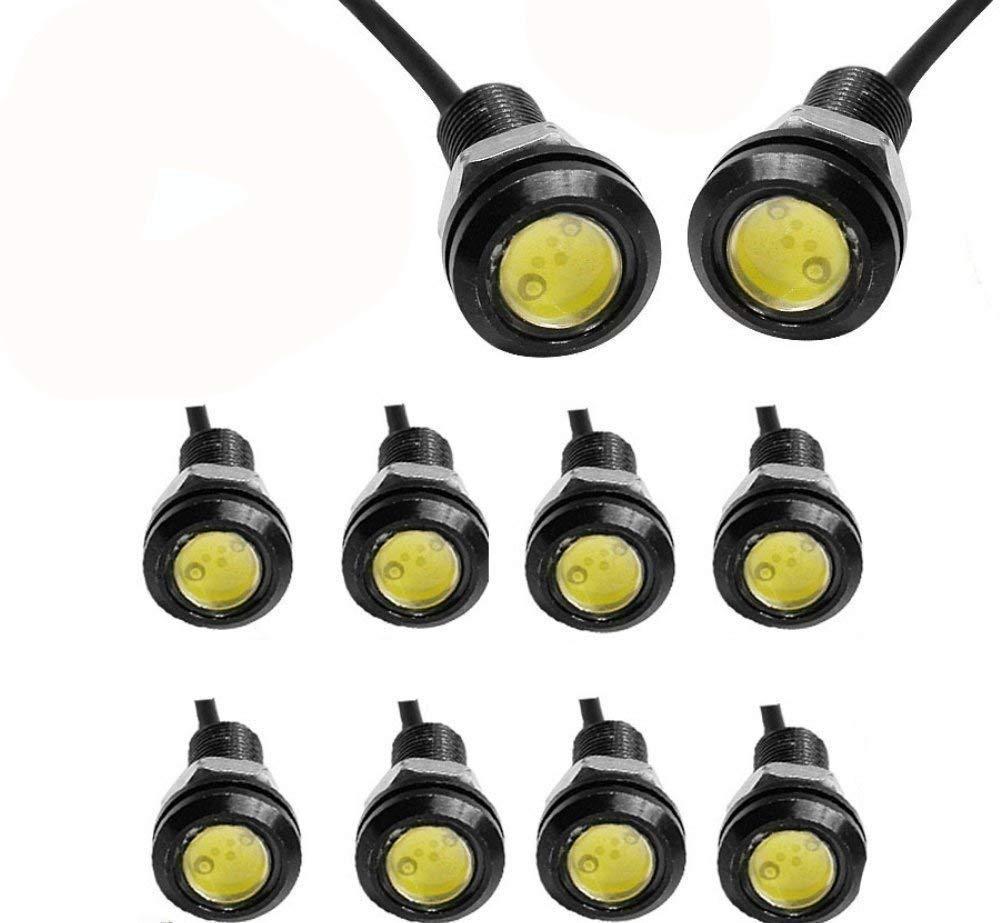 JKLcom LED Eagle Eye Lamps 12V 9W Led Light Bulbs Driving Light Running Lights Tail Light Lamp Bulbs 18mm Small Light for Car Van SUV Coupe Sedan,Pack of 10