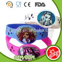 2015 logo printed OEM silicon bracelet bulk cheap custom silicon wristband