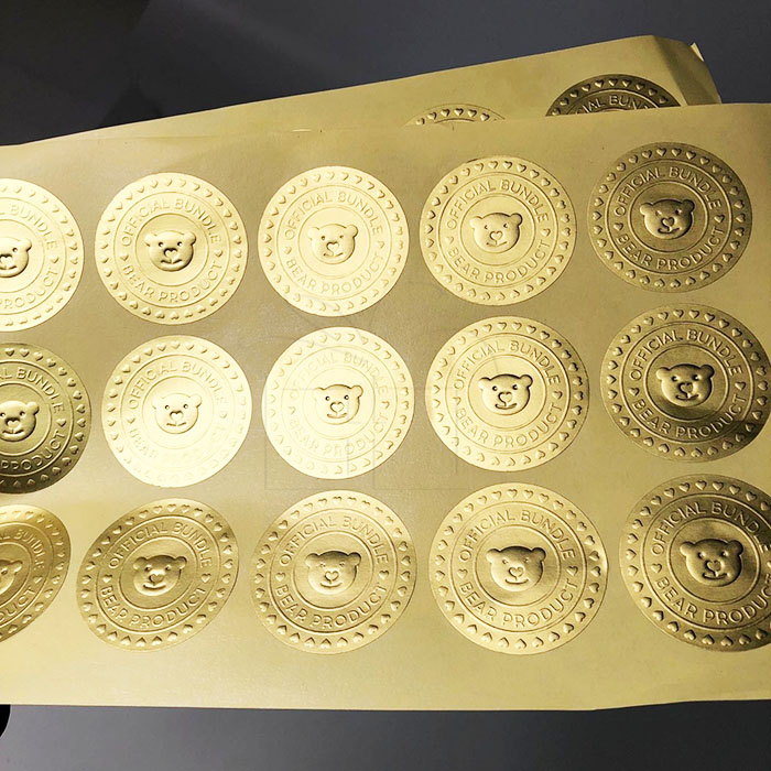 High quality custom logo embossed gold foil stamped adhesive stickers