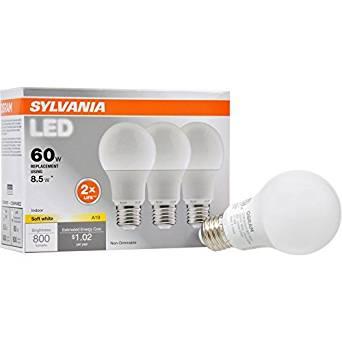 Sylvania 3-Pack 8.5-Watt (60W Equivalent) 2,700K A19 Medium Base (E-26) Soft White LED Bulbs