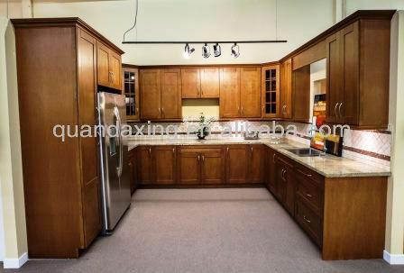 Solide cerise armoires de cuisine en bois, Meubles de cuisine ...