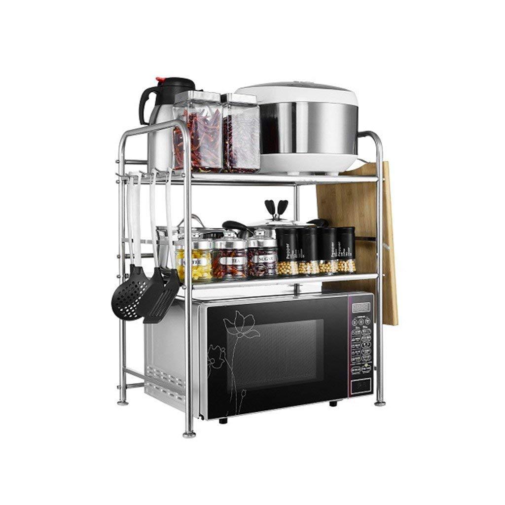 bd6e75eaa356 Get Quotations · Microwave Oven Rack 3-Tier Metal Rice Cooker Shelf Pot Rack  Seasoning Jar Storage Rack