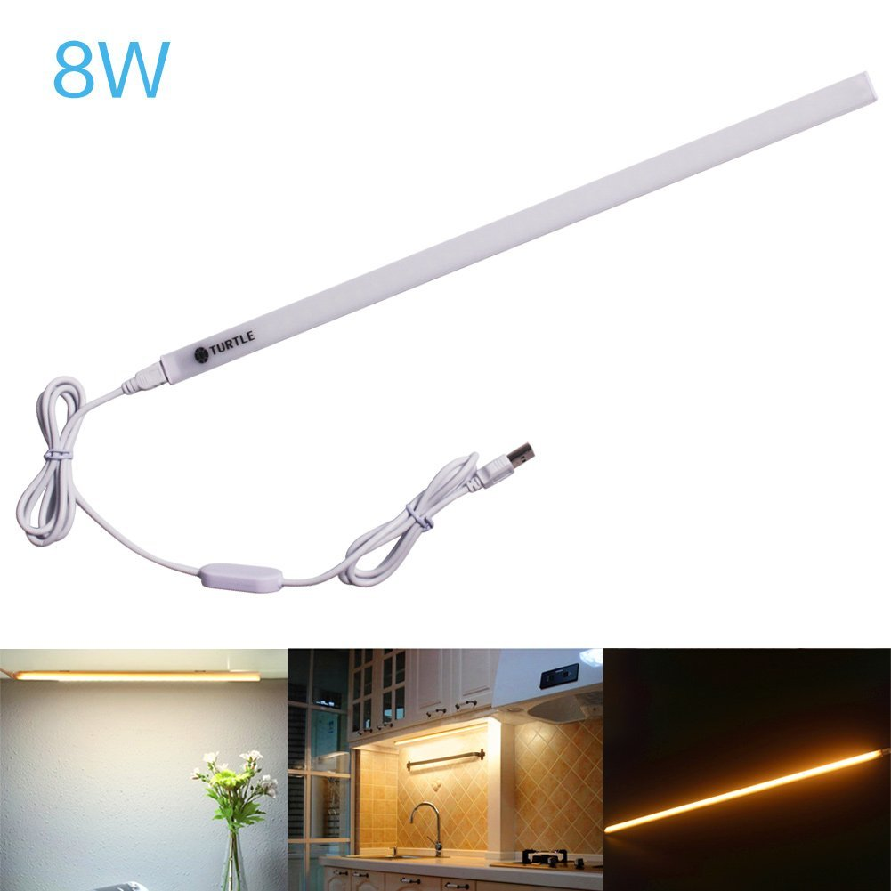 Ryham Dimmable LED Under Cabinet Lighting, 15inch, Warm White, 3000K, 3M and Magnet Mounted, USB Powered LED Closet Light Bar, Under Counter Lighting-8W