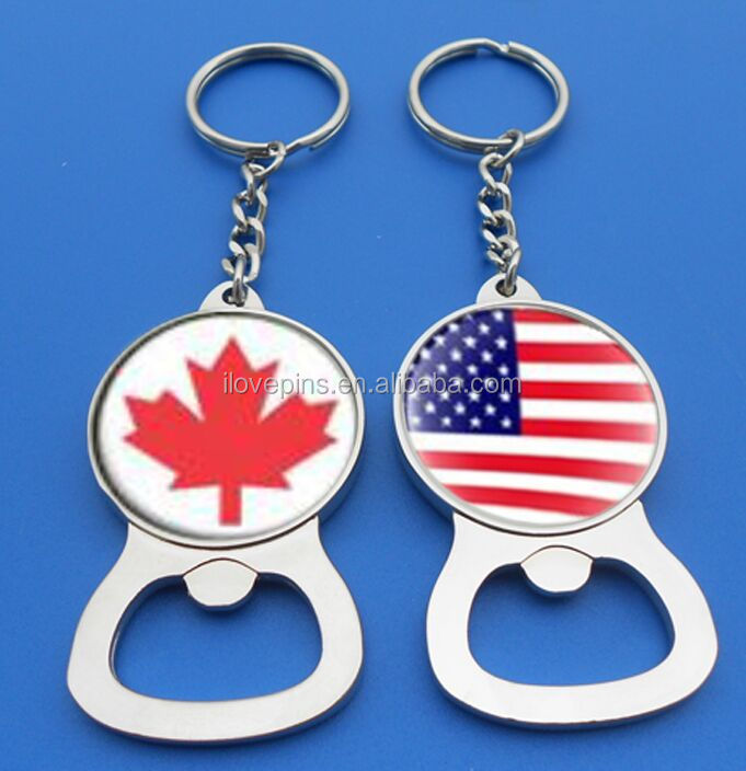 top selling zinc alloy keychain bottle opener with printed country sticker