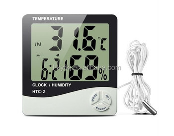 Accurate House Usage Digital Thermometer,digital Hygrometer With Time And  Sensor Wire Length.