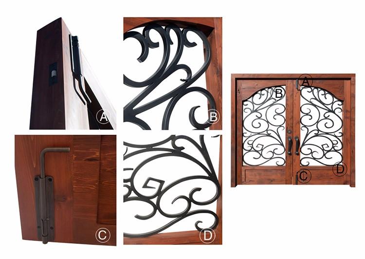 Low Cost Solid Wood Exterior Front Doors Wood Double Doors