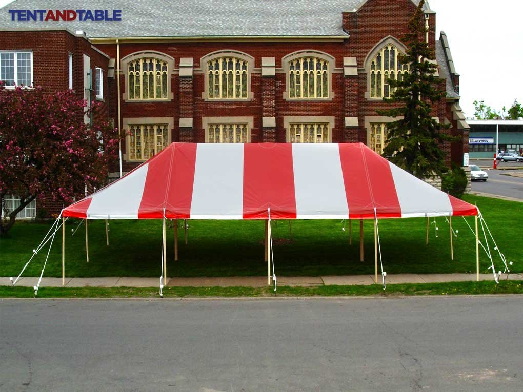 20-Foot by 40-Foot Red and White Pole Tent, Commercial Canopy Heavy Duty 16-Ounce Vinyl for Parties, Weddings, and Events