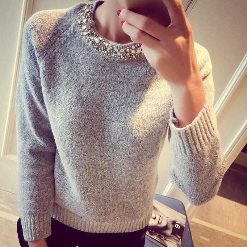loose korean knitted women sweater beading o neck long sleeve female thick Sweater Pullover winter novelty