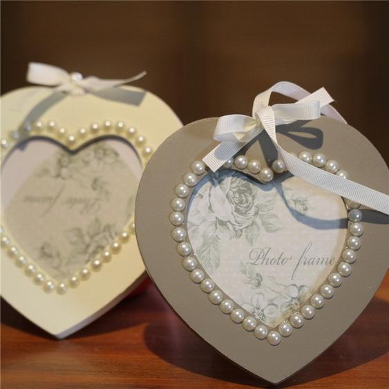 Faux Pearl Decorative Hanging Ribbon Wood Heart Shape