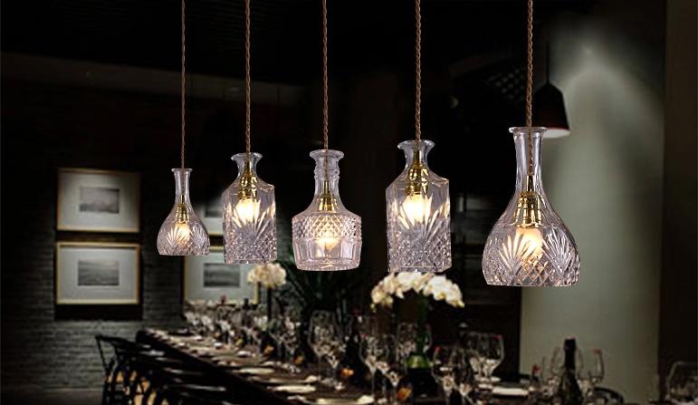Vodka Bottle Light Hanging Wine Lamp Glass Pendant Lamp Crystal ...