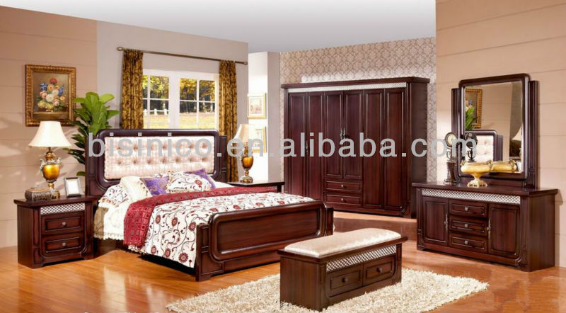 Morden Wood Beds Bedroom Furniture,Full Set Of Solid Wood  Furniture,Neoclassical Design Furniture Panel Bed W Back Cushion,, View  wood carving bedroom ...