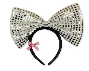 Party Costume Accessory Sequin-Sheen Glitter Christmas Party Light Up Minnie Mouse Flashing LED Bow Bling Hairband Ribbon Headband Event Costume Hair Hoop - Silver