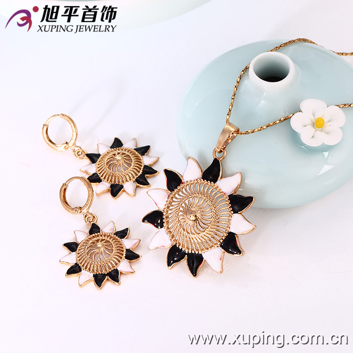 18k Gold Plated Latest design of Summer Sunflower Shaped Jewelries Set