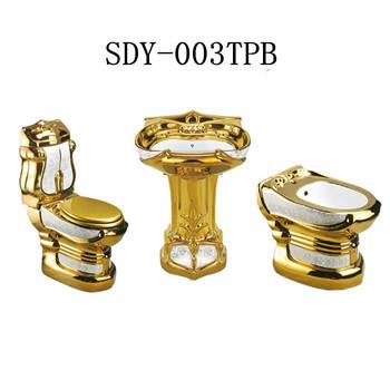 Ceramica Di Colore Dell\'oro Wc Ciotola Lavabo Bidet Bagno D\'oro Set ...