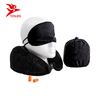 Custom Airplane and Car Travel Kit Napping Memory Foam Neck Pillow With Eye Mask