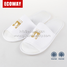 white hotel bedroom open toe non-woven slippers with screen print logo