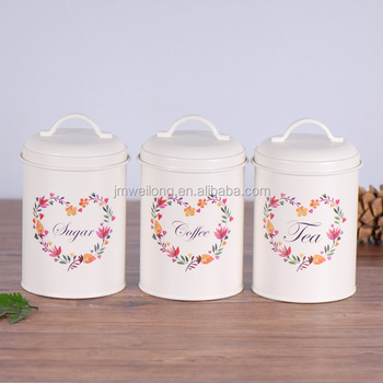 Lovely Heart Flower Pattern Set Of 3 Canister Sugar Coffee Tea Metal Storage Tin Jar