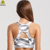 Wholesale bronzing printing crop top yoga private label sports bra
