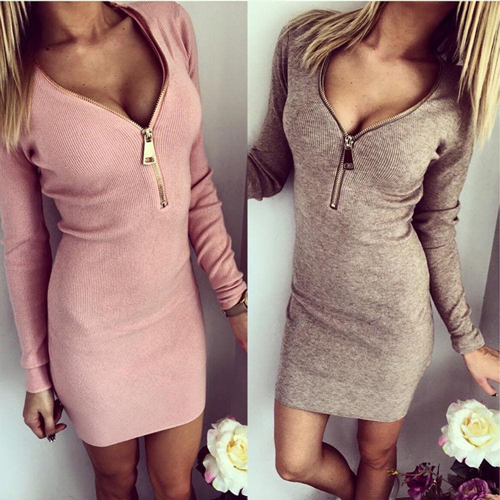 c63b12fcd8 2018 Wholesale autumn sexy girl tight dress women deep V-neck long sleeve  sweater dress