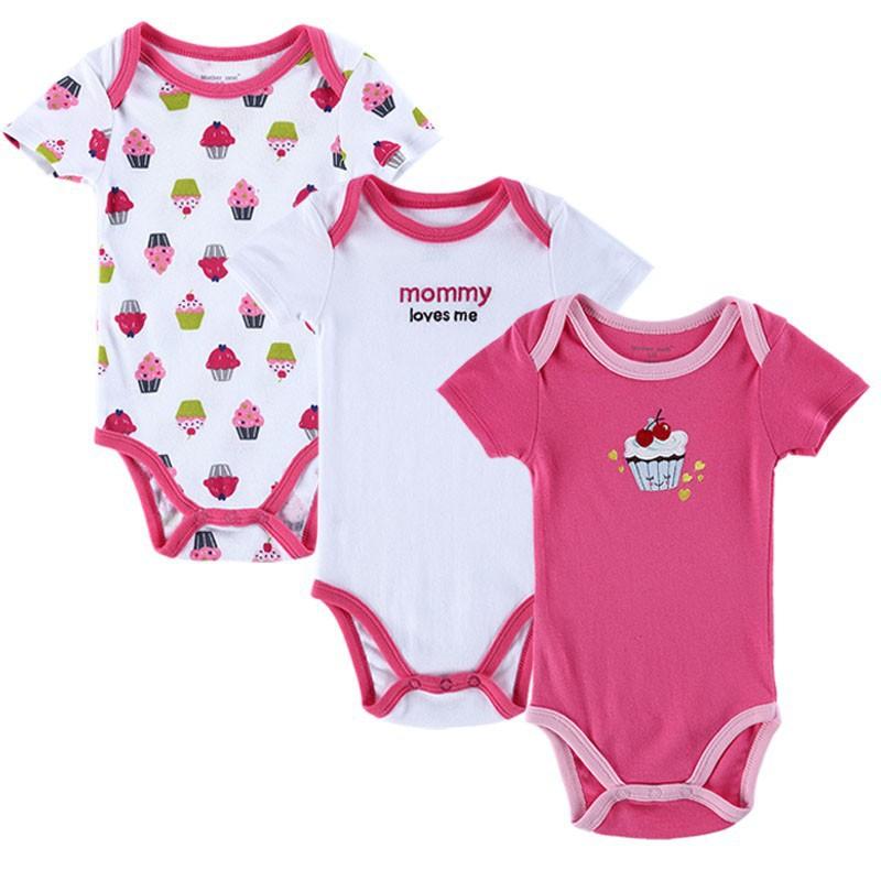 abd56f8efc1 Get Quotations · BABY BODYSUITS 3PCS 100%Cotton Infant Body Bebes Short  Sleeve Clothing Similar Carters Jumpsuit Printed