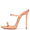 2018 Two Straps Ladies Cute Shoes Stiletto Dress Shoes High Heels Strappy Sandals Women Sexy Patent Leather Rose Gold Mules