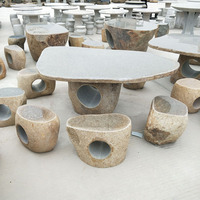 Outdoor natural basalt stone table and chairs seats